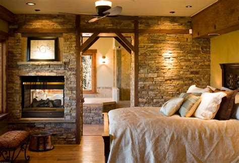 double master bedroom rustic master bedroom with wood bedframe by kogan builders