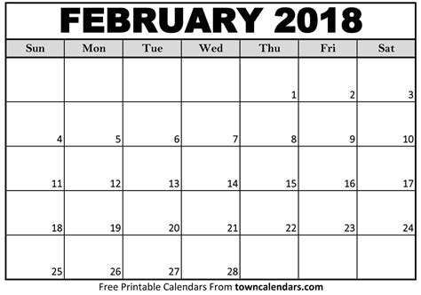 printable february 2018 calendar page february 2018 calendar printable template pdf with