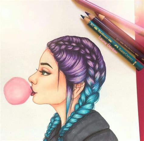 chica con trenzas de colores dibujos trenzas de colores trenza y de colores