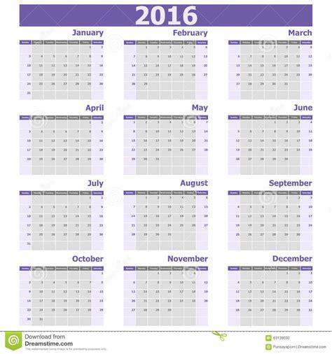 Calendario N Semanas La Semana Calendario 2016 Empieza De Domingo