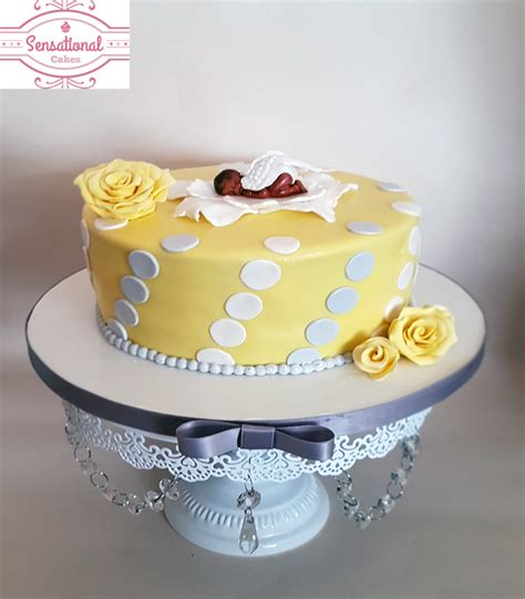 Yellow And Grey Baby Shower Cake by Yellow Grey White Baby Shower Cake Sensational Cakes