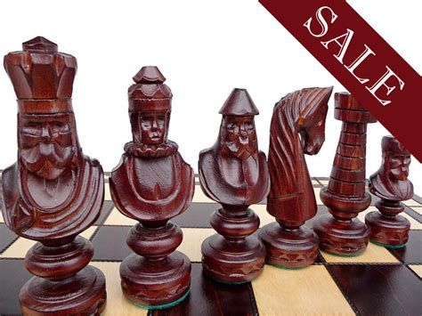 Handmade Wooden Chess Set - unique handmade large wooden chess set 60x60cm by stylishchess
