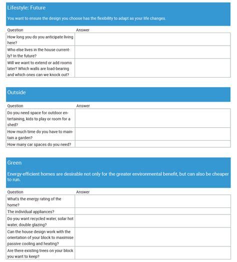 house design brief checklist new home design how to write a comprehensive brief ibuildnew ibuildnew