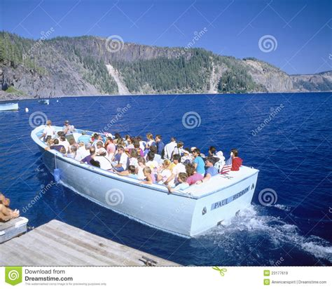 boat tour crater lake tour boat on crater lake editorial stock image image