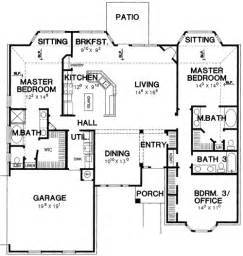 house plans with two master suites on main floor double master bedroom house plan 3056d 1st floor