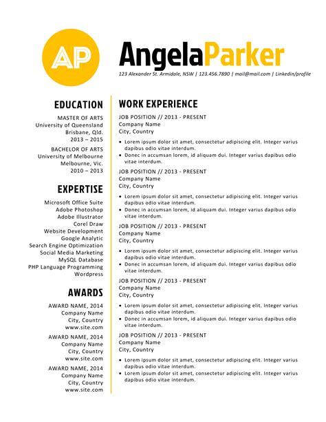 bold resume template bold initial word resume resume templates on