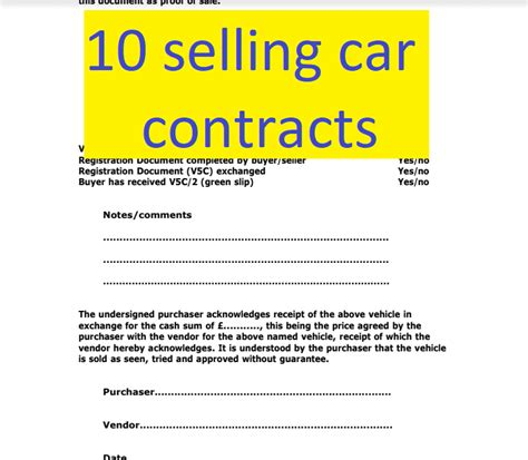 selling car contract template 10 selling car contract exemples doc and pdf format