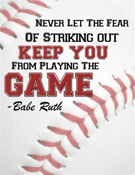 printable sports quotes boy s print room art baseball art don t let the fear of