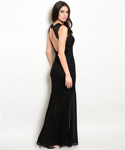 Black Lace Dress 219913 black lace backless evening dress modishonline
