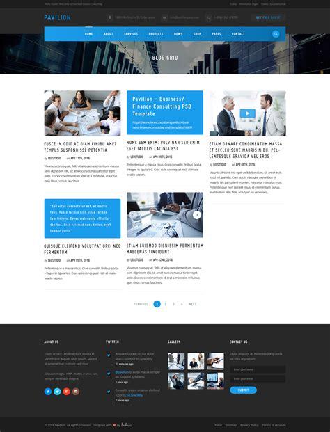 pavilion theme blog module pavilion finance business psd template by leehari