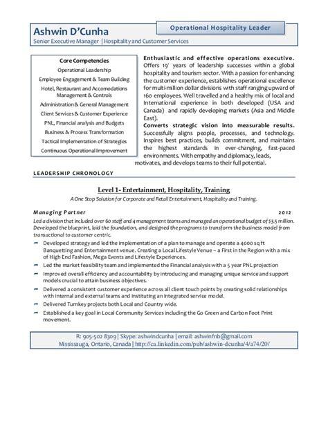 resume ashwin senior hospitality executive