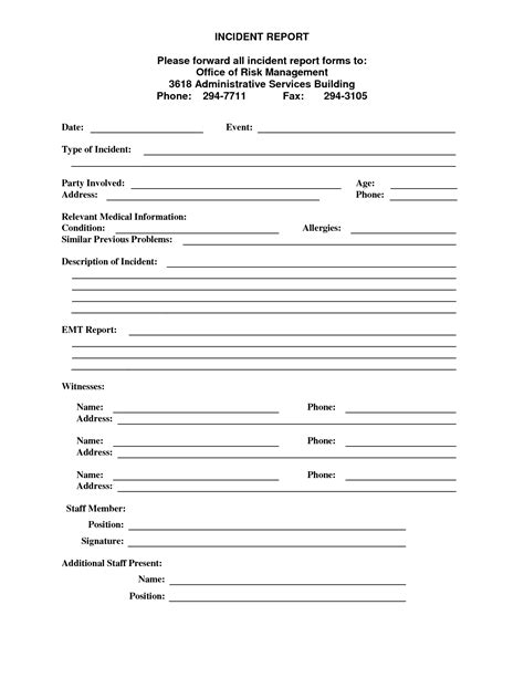 office report template best photos of incident report form