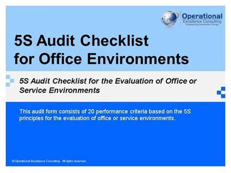Office 5s Audit Checklist By Operational Excellence 5s Principles Ppt
