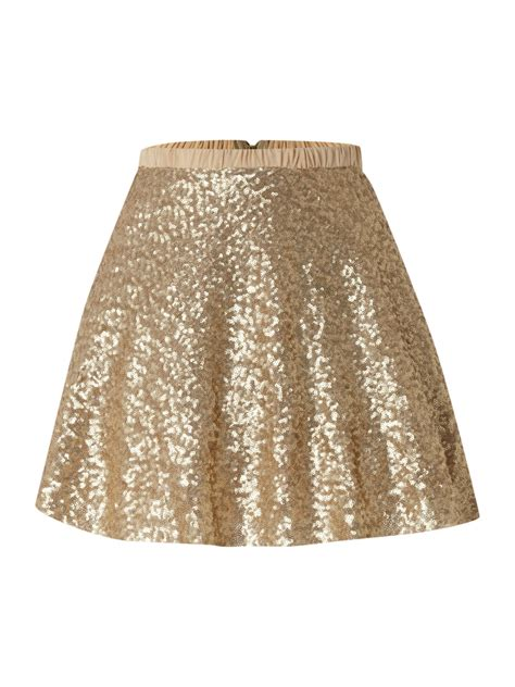 tfnc skirt all sequin in gold lyst