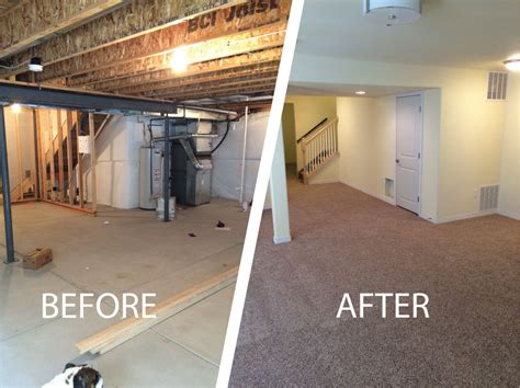 finished basements before and after rooms