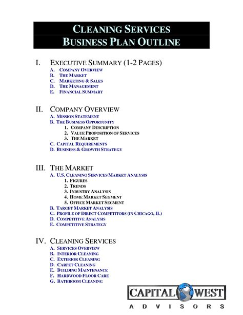 Cleaning Business Plan Template 7 best images of chart for cleaning business bathroom