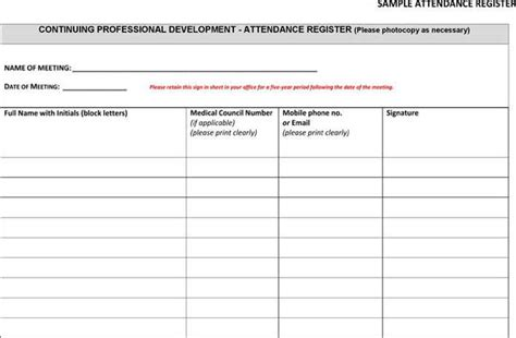 template for attendance register meeting attendance register template free