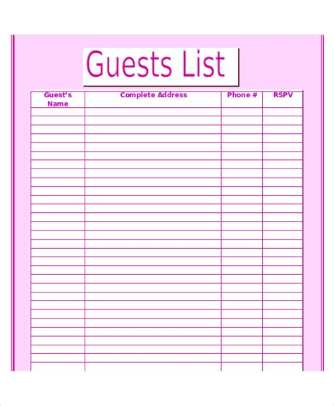 printable wedding guest list template search results for wedding guest list template