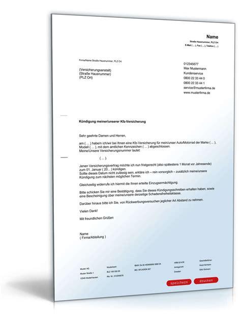Kfz Versicherung K Ndigen Zum 30 11 Muster by K 252 Ndigung Der Kfz Versicherung Muster Zum Download