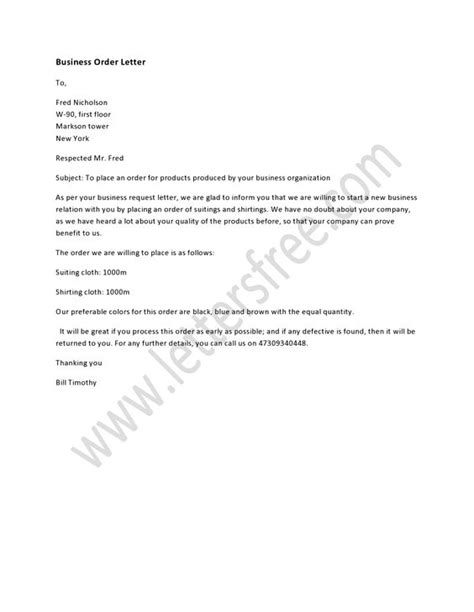Business Letter Order A Business Order Letter Is Written To Make A Business Order According To The Business Field