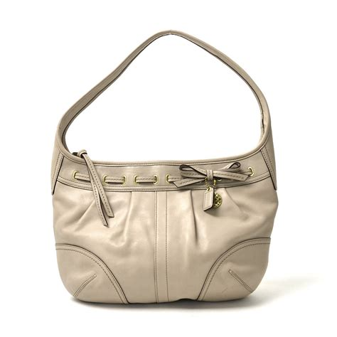 Coach Ergo Belted Leather Medium Purse by Auth Coach Ergo Leather Raced Hobo Shoulder Bag Beige