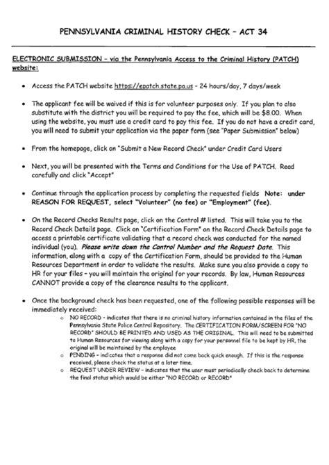 fbi criminal background check pa pennsylvania criminal history check act 34 printable pdf