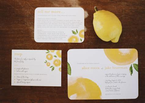 lemon themed wedding invitations yellow lemon themed invitation suite photo by raya