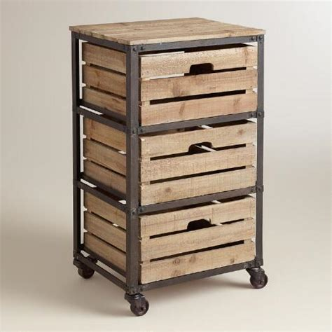 Rolling Storage Cart With Drawers by Metal And Wood 3 Drawer Josef Rolling Cart World Market