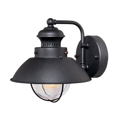 Outside Light Fixtures Lowes Shop Cascadia Lighting Nautical 8 In H Textured Black Outdoor Wall Light At Lowes