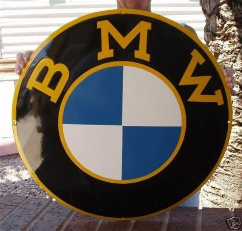 bmw vintage logo bmw logo with yellow details porcelain sign