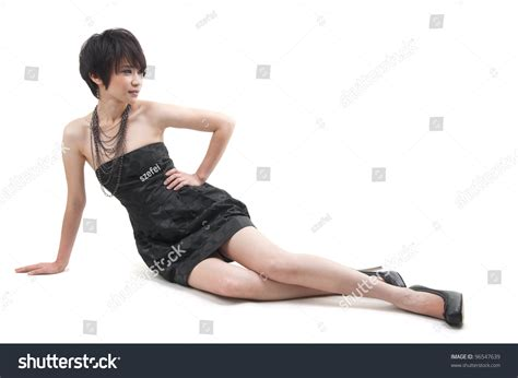 short hair poses short hair asian woman posing full stock photo 96547639