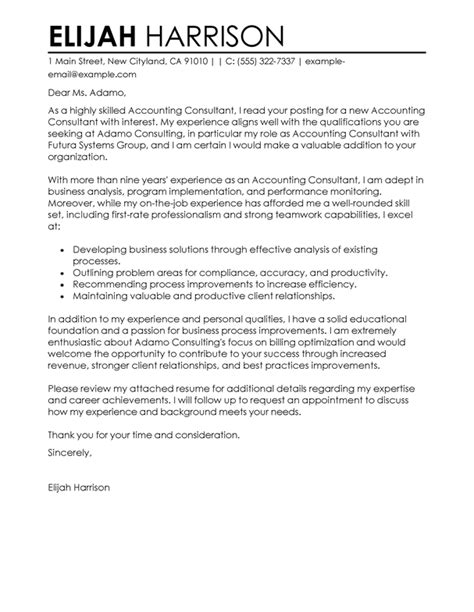 Business Consultant Cover Letter by Best Consultant Cover Letter Exles Livecareer