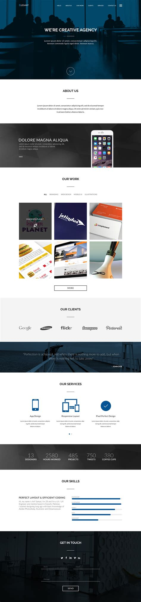 Elegant Free One Page Website Html Template Free Html5 Templates One Page Website Template Free