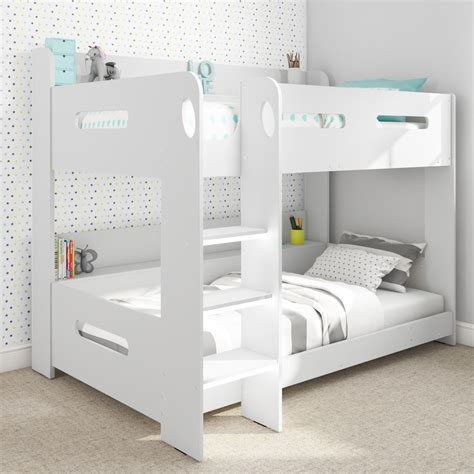 Modern Kids White Wooden Bunk Bed Storage Shelves Ebay White Bunk Bed