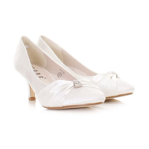 wedding kitten heels womens low kitten heel bridal wedding white satin diamante