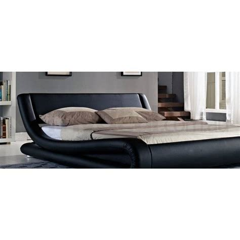 curved bed frame leonardo queen pu leather curved bed frame in black buy