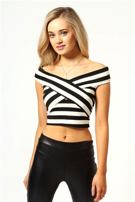 Cross Crop Top N3739 boohoo jemma sleeveless cross stripe crop top ebay