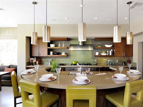 round kitchen island with seating curvy kitchen for entertaining chris johnson hgtv