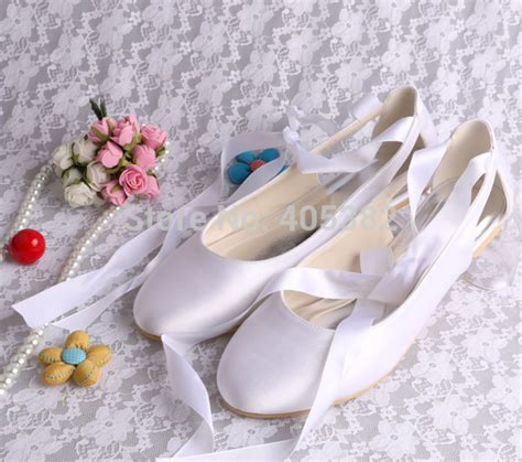 Flatshoes Ribbon Ss0026 aliexpress buy wedopus wedding bridal ballet flats white comfortable s prom shoes