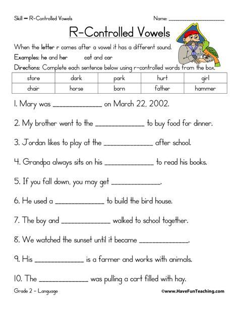 R Controlled Vowel Worksheets r controlled vowels worksheet teaching