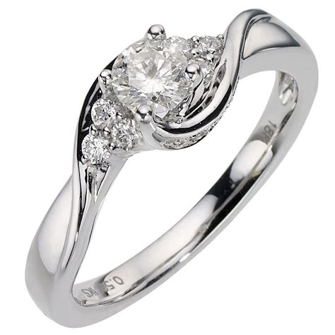 18ct white gold half carat solitaire ring h samuel