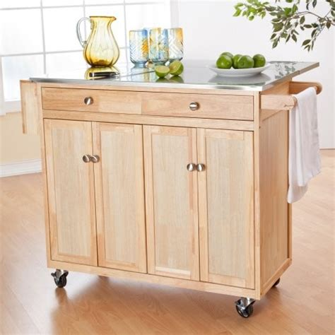 the portable kitchen island with optional stools
