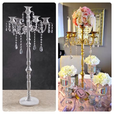 how to make your own gold candelabra centerpiece cut costs by buying a cheaper white candelabra