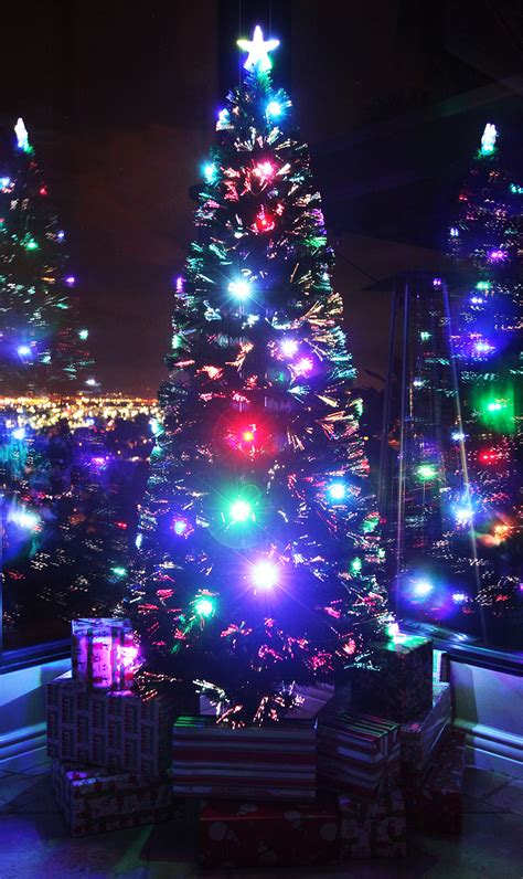 7 5 ft pre lit multi color led fiber optic christmas