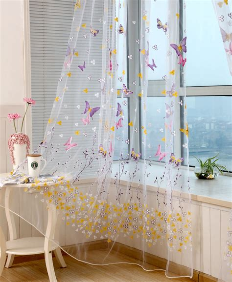 butterfly sheer curtain panels honana wx c6 colorful butterfly flower voile curtain panel