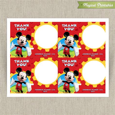 mickey mouse thank you card template disney mickey mouse clubhouse printable birthday thank you