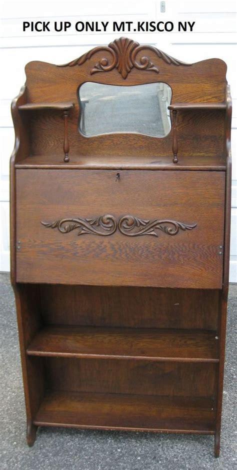 antique oak larkin bookcase desk drop front