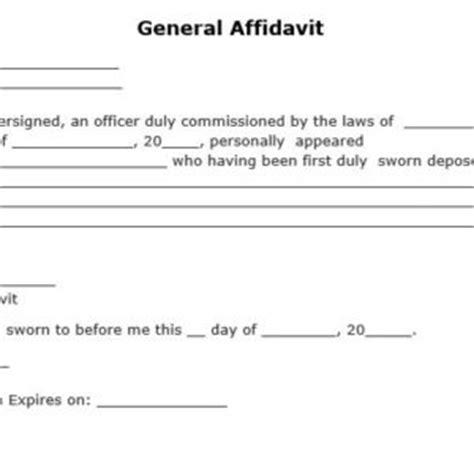 general affidavit template free general affidavit form template sle blank helloalive