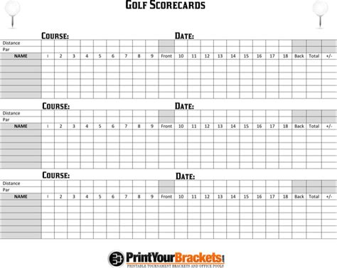 golf scorecard template free golf scorecard templates free premium