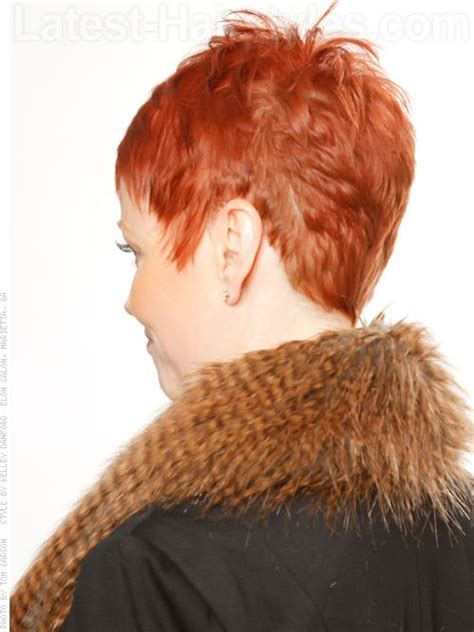 hairstyles that are spiked at the back of the head sassy pixie with spikes back view short hair